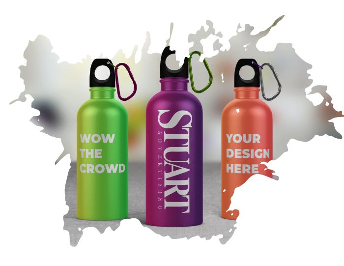 Sample picture of what colorful custom water bottles could loook like, Spokane, WA